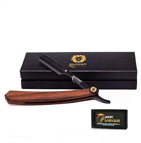 Bloony Professional Barber Razor Cut Beard Cabbage - Kit de afeitado para hombres - Regalo ideal para hombres - Cortador de repollo de peluquero con mango de madera para bigote de barba 10 (x2) Premium Derby Blades