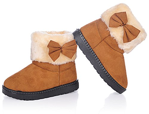 DADAWEN Baby's Girl's Toddler Fashion Cute Bowknot Fur Lining Princess Warm Snow Boots Brown US Size 5 M Toddler