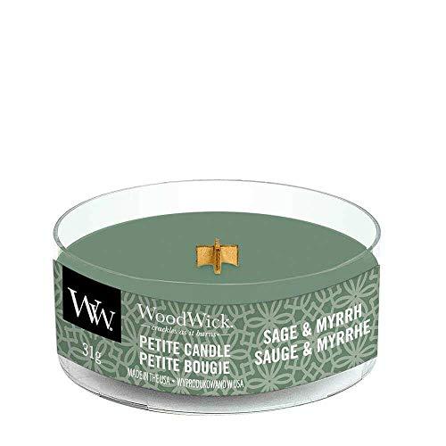 Woodwick: Petit Kerze Sage & Myrrh, kleine Probierkerze mit Holzdocht aus Myrrhe, Bergamotte, Sandelholz und Lavendel