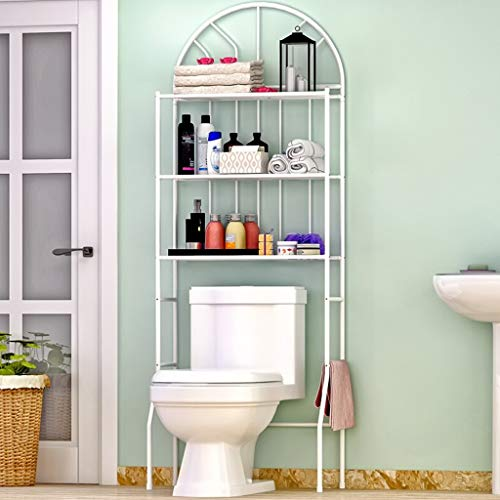Lfixhssf 3 Tablettes sur Les Toilettes Salle De Bains Space Saver, Serviettes Support De Rangement Organisateur Blanc Lfixhssf