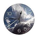 インテリア 掛け時計 空の雲 太陽の光線 壁掛け時計 丸い 飾る時計 連続秒針 サイレント ウォールクロック デジタル コンパクト ウォールクロック 部屋 客室 教室 部屋装飾 贈り物 新築 開業