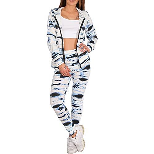 Candygirls Tuta sportiva da donna, 2 pezzi, con cappuccio, pantaloni e tuta da jogging Sport Fitness 112 bianco M