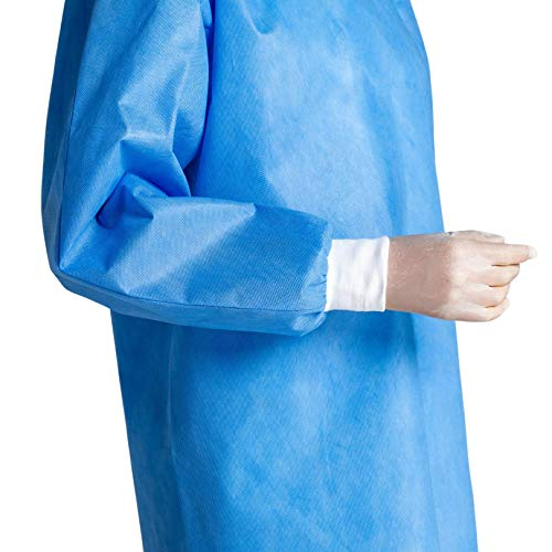 IguanaMed Pack of 10 and 100 Disposable Isolation Gowns with Knit Cuff, Non-Woven, Protective, Dental, Hospital, lab, Blue