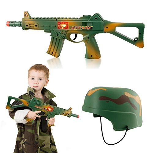 Camouflage Army Helmet and 16 inches Machine Gun Toy Rifle Military Combat Playset for Kids