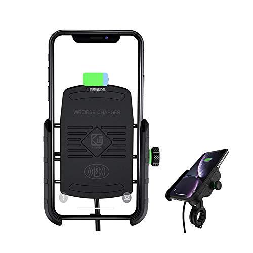 YGL Support de Téléphone Moto, Chargeur Sans fil 15W Qi Titulaire de Téléphone pour Moto Bicyclette