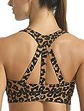 FITTIN Sujetador deportivo para mujer con acolchado sin aros, cómodo, transpirable, para entrenamiento, yoga, correr, fitness Leopardo marrón oscuro. L