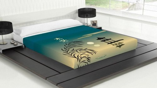 TSUKI Sábanas OSOKU cama motivo orintal japones/Zen Chillout (Cama 135)