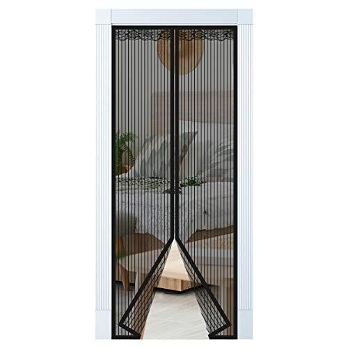 Enllonish Magnet Fliegengitter Tür Insektenschutz Balkontür Fliegenvorhang 80x200cm, Klebemontage Ohne Bohren, Der Magnetvorhang ist Ideal für Terrassentür, Kellertür und Balkontür
