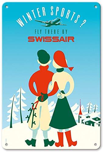 Winter Sports - Fly There by Swissair by Elli Sieber Metall Poster Wand rostfrei Aluminium wetterfest Dekor Home Wall Art Decor Retro Vintage Blechschild 12 x 8 Zoll