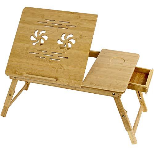 Grandma shark Bambú Mesa de Cama para Cuaderno, Ángulo y Altura Ajustables, con Orificios de ventilación, cajón, Ranura para Copa (55 × 35 cm)