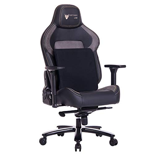 FANTASYLAB Big and Tall 440lb Metal Base Gaming Chair, Memory Foam Lumbar Seat Cushion, 4D Adjustable Arms Swivels & Reclines Ergonomic High-Back Racing Computer Desk Office Chair