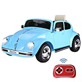 Aosom Licensed Volkswagen Beetle Electric Kids Ride-On Car 6V Battery Powered Toy with Remote Control Music Horn Lights MP3 for 3-8 Years Old Blue