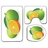 3Pcs Alfombra de baño antideslizante Juego de tapa de asiento de inodoro Verde y naranja Alfombra de baño antideslizante suave Limas frescas con media naranja Temporada de invierno Frutas Tema de cítr