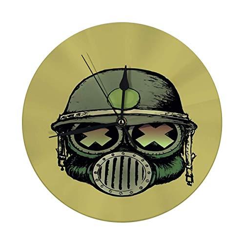 nobrand Reloj de pared redondo con diseño de calavera de guerra, estilo de cartón animado, con máscara antigas y casco decorativo para casa, oficina, escuela 9,8 pulgadas