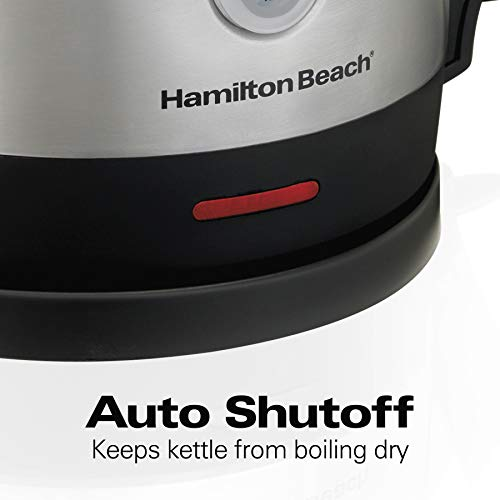 Hamilton Beach 1.7 Liter Electric Kettle for Tea and Hot Water, Cordless, Auto-Shutoff and Boil-Dry Protection, Stainless Steel (40880)