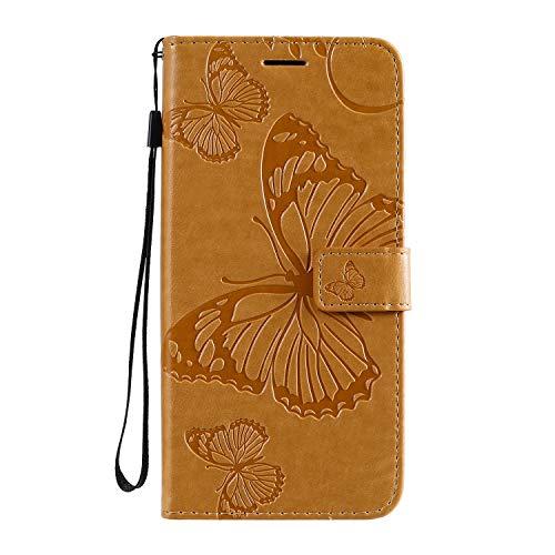 Jeewi Hülle für Moto G8 Hülle Handyhülle [Standfunktion] [Kartenfach] [Magnetverschluss] Tasche Etui Schutzhülle lederhülle klapphülle für Motorola Moto G8 - JEKT041788 Gelb