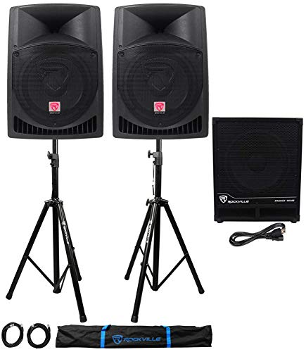 """(2) Rockville RPG12 12"""" Powered PA Speakers+Active 15"""" Subwoofer+Stands+Cables"""