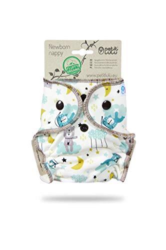 Petit Lulu Höschenwindel für Neugeborene (2-6kg) Druckknöpfe   Fluffy Organic   Bambus natürliche wiederverwendbare Stoffwindeln   Ohne Polyester (Gute Nacht)