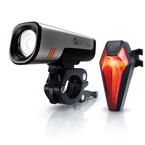 CSL - Fahrradlampenset mit Akku StVZO zugelassen – 2600 mAh Frontlicht, 180 mAh Rücklicht – Aufladbar über USB Port - StVZO - 40 Lux - CREE LED - Akkulicht - Schnellbefestigung - Fahrradlicht Set