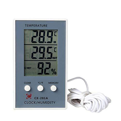 Digitales Thermometer/Thermometer/Hygrometer - Hohe Stabilität und hohe Präzision, geringer Stromverbrauch, Standbar, Hangable- Für die Messung von Innen- / Außentemperatur und Luftfeuchtigkeit