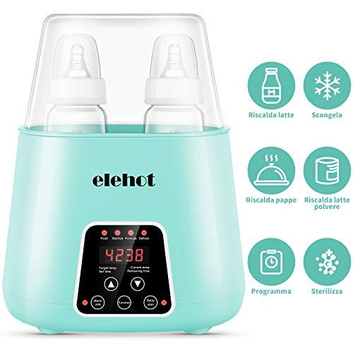 Scaldabiberon Sterilizzatore 6 in 1 Elettrico Scaldapappe Doppio Biberon con Scongelamento Spegnimento Automatoco Programmazione Accensione Senza BPA ELEHOT