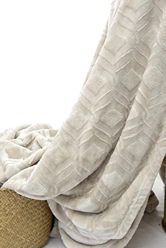 """long rich HappyCare Textiles HCT BKT-001 Ultrasoft Diamond Pattern Embossed Micro Velvet Comforter and Blanket, 90"""" by 90"""", Ivory/Camel"""