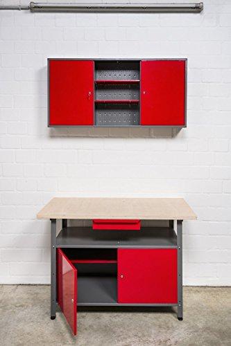 Große Werkstatteinrichtung bestehend aus 2 x Werkbank mit 2 abschließbaren Türen, 2 x Werkstattschrank mit zwei abschließbaren Türen und 2 x Lochwand Metall mit 14tlg. Hakensortiment. Topp Preis / Leistungsverhältnis - 3