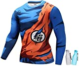 Geekoolit Compression Shirt for Men Anime Dragonball Z Fitness T-Shirt Top Naruto Goku with BPA Free Water Bottles