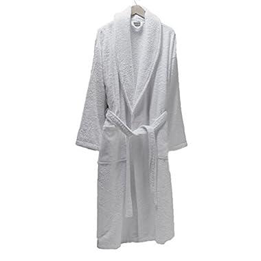 SALBAKOS Luxurious 100% Turkish Combed Cotton Terry Bathrobe, White, Small