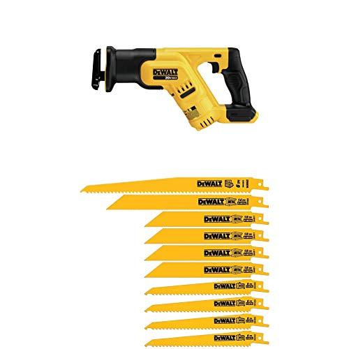 DEWALT DCS387B 20-volt MAX Compact Reciprocating Saw (Tool Only) with DEWALT DW4898 Bi-Metal Reciprocating Saw Blade Set with Case, 10-Piece