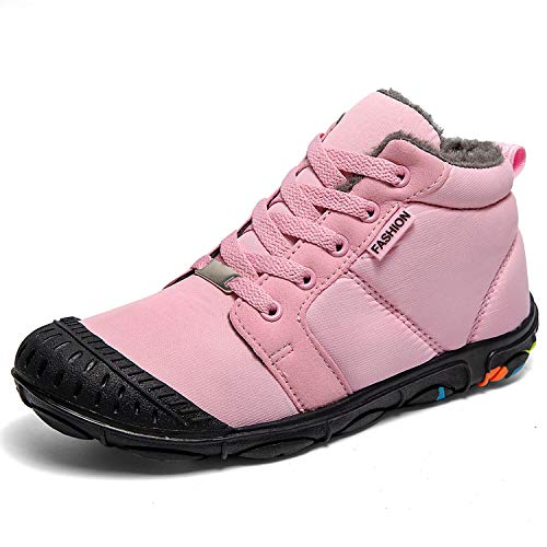 ITAPO Kid's Waterproof Winter Boots Snow Sneakers Boots Lace up Shoes with Fur Lining, Pink, 4 Big Kid