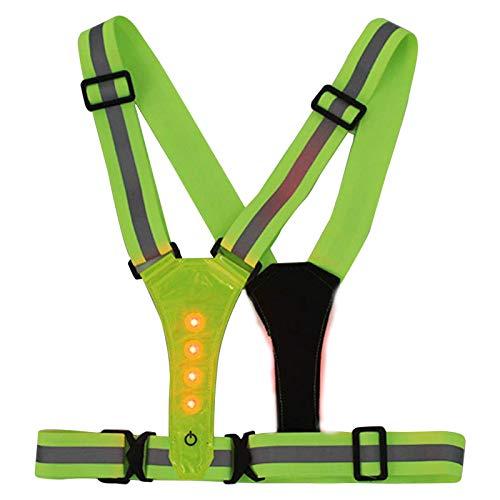 su-luoyu Verstellbare Reflektorweste Reflektierende Sicherheitsweste Hohe Sichtbarkeit Elastisch Warnweste Mit LED-Lichtern Für Fahrrad, Läufer, Jogger, Spaziergänger, Arbeit
