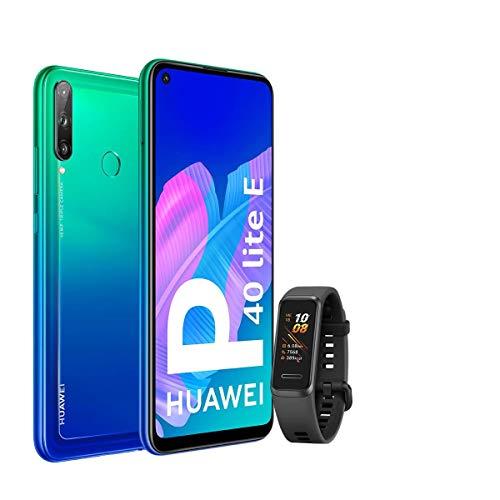 """HUAWEI P40 Lite E - Smartphone con Pantalla FullView de 6,39"""" (Kirin 710, 4 GB + 64GB, Triple Cámara IA de 48MP, Batería de 4000 mAh), Color Verde + Band 4 Negra, Azul"""
