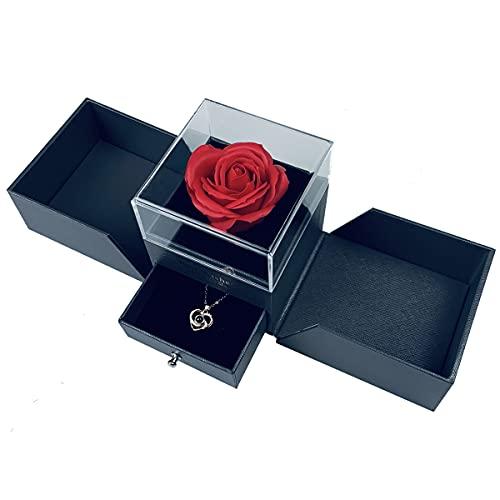 Handgemachte konservierte Rose Geschenk-Box mit Forever Seife Rose und Liebe Sie Halskette in 100 Sprachen, verzauberte Blume Geschenk für Freundin Mutter Frau am Jahrestag Valentinstag Muttertag