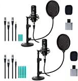 Movo 2-Pack Universal XLR Condenser Microphone Podcasting Equipment Bundle...