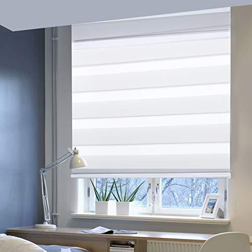 Laneetal Estores Enrollable Noche y Día Persiana Interior Doble Semi-Sombreado Bloquear los Rayos UV Proteger la Privacidad 100% Poliéster 120 x 150 cm Blanco