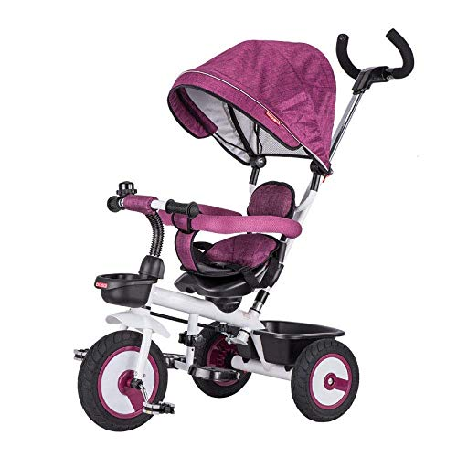 Triciclo Evolutivo 4 en 1 triciclos para niños de 6 meses a 5 años 360 & deg; Sillín giratorio Cinturón de seguridad de 2 puntos Niños Triciclo Plegable Toldos solares Ruedas traseras bloqueables