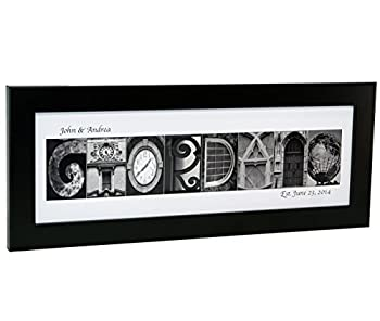 Creative Letter Art Personalized Name in Black and White Architecture from Original Alphabet Photograph Letters for Personalized Gift Anniversary Baby Name  Black Frame