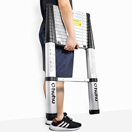 Ohuhu 12.5 FT Aluminum Telescopic Extension Ladder, ONE-BUTTON RETRACTION New Design Telescoping Ladder, ANSI Certified Extendable Ladder with Spring Loaded Locking Mechanism, 330 Pound Capacity Father Gift Idea