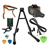 SUNYIN Guitar Stand Accesssories Kit,10-Feet Guitar Cord,Guitar Starp,Clip-on Tuner,Guitar Capo,3 Guitar Picks For