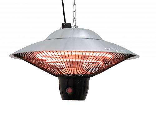 Atlas, elektrische terras-plafondlamp, plafondverwarming, verwarmingspaddeken, terrasstraler, infrarood plafond verwarming, warmtestraler terras, vermogen tot 1500 W, met afstandsbediening en LED-lamp