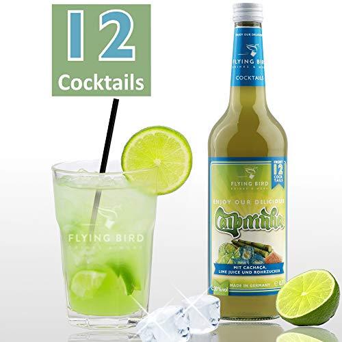 Caipirinha 30% Vol. | Premix, Fertig Mix für 12 Cocktails mit Alkohol | Flasche 0,7l mit allen Zutaten | Einfach auf Crash-Eis servieren