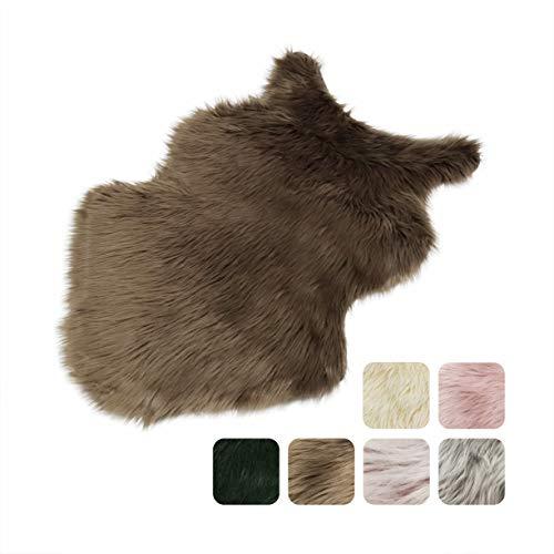 Furryvalley Alfombra ecológica de piel de cordero sintética de imitación de piel de oveja para cama, sofá, salón, dormitorio, habitación infantil (60 x 80 cm), color marrón