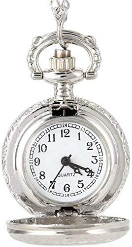 NC188 Reloj de Bolsillo de Moda Vintage para Mujer, Reloj de Bolsillo de Cuarzo, aleación de Flores, Ahuecado, para Mujer, suéter, Cadena, Collar, Colgante, Reloj, Regalos