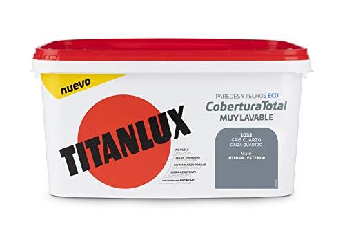 Titanlux - Pintura Plástica Cobertura Total Cubeta 4L (1032 Gris Cuarzo)