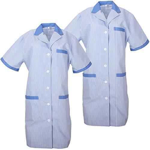 MISEMIYA - Pack*2 - Bata SEÑORA Mujer ESTÉTICA Uniforme Laboral Dentista CLINICA Doctores Limpieza Veterinaria SANIDAD HOSTELERÍA Ref.T8162 - M, Celeste