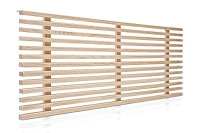 Cabeceros de cama de listones de madera de pino Cabecero de madera de gran resistencia y acabado Cabezales de madera, incluyen herrajes para anclar a la pared a la altura que desees Cabecero de camas de 150 para dormitorio de matrimonio Disponible en...