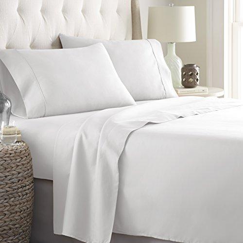Danjor Linens Bed Sheets Set, HOTEL LUXURY 1800 Series Platinum Collection Bedding Set, Deep Pockets, Wrinkle & Fade Resistant, Hypoallergenic Sheet & Pillow Case Set (Queen, White)