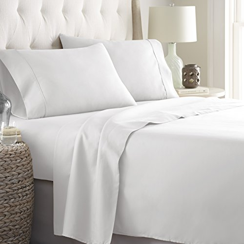 Hotel Luxury Bed Sheets Set 1800 Series Platinum Collection Softest Bedding, Deep Pocket,Wrinkle & Fade Resistant (King,White)