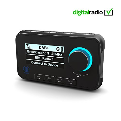 Majority Journey A10 - Adattatore DAB Plus per radio digitale con vivavoce Bluetooth e streaming musicale - DAB + Ricevitore autoradio con trasmettitore FM integrato - con accessori
